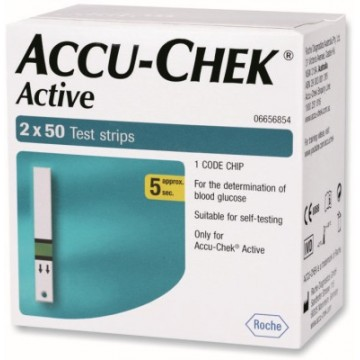 AccuChek Active Blood Glucose Test Strips 100 Strips  (2X50 Pack)