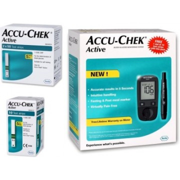 AccuChek Active Gulcometer with 110 (10+100 Strips Pack) Test Strips