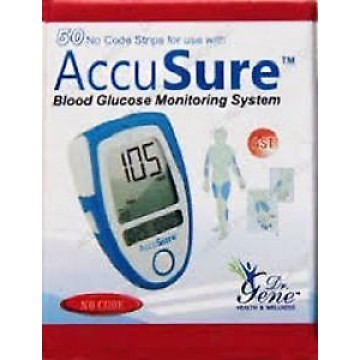 Dr.Gene Accusure Gulcometer Test Strips -50 Strips (1X50 Pack)