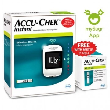 Accu-Chek Instant Wireless Blood Glucose Meter and Lancing Device With Free 10 Test Strips
