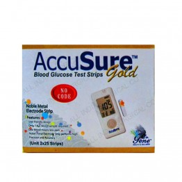Dr.Gene Accusure GOLD Gulcometer Test Strips 50 Strips (2X25 Pack)