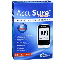 AccuSure Sensor Blood Glucose Monitoring System With 25 Test Strips