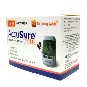 Accusure Soul Dr Gene Gulcometer Test Strips -100  Strips (2X50 Pack)