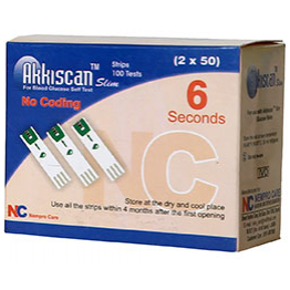 Akkiscan SLIM Blood Gulcose Test Strips 100 strips (2X50 Pack)
