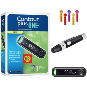 Contour Plus ONE Blood Glucose Monitoring System With 25 Strips Free