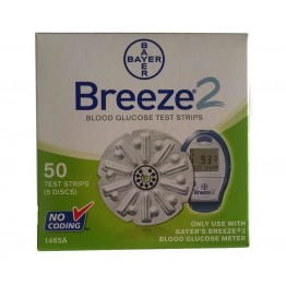Bayer Breeze 2 Gulcometer Test Strips- 50 Strips (1X50 PACK)