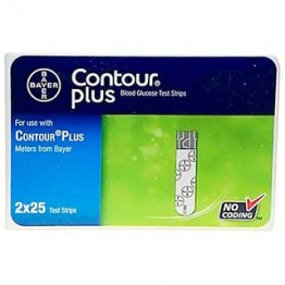 Bayer Contour PLUS Gulcometer Test Strips-50 Strips (2X25 Pack)