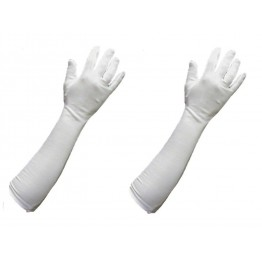 Long Sleeves Cotton Gloves White (For Driving or Protection from Sun and Winter) 1 PAIR