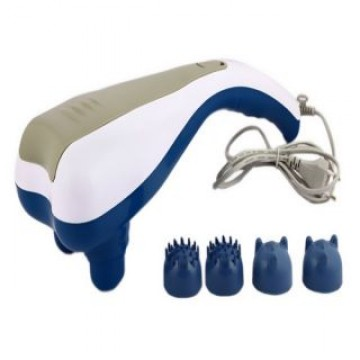 Dolphin Double Head Body Massager With 4 Attachments (Color May Vary)