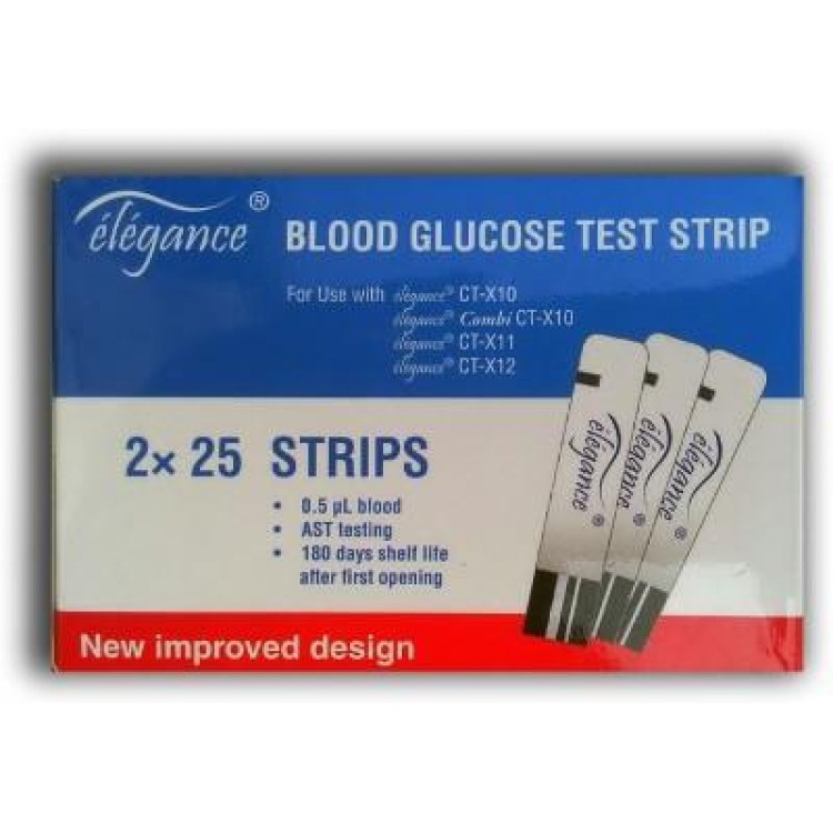 Elegance Blood Glucose Test Strips 50 Strips (1X50 Pack)