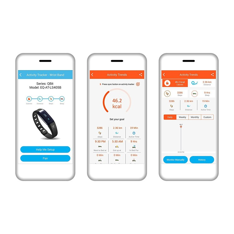 Equinox Smart Activity And Sleep Tracker Qbit Bluetooth