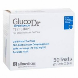 Gluco Dr. Super Sensor Test Strips 50 strips (2x25 Pack) Model : AGM 2200