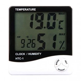 HTC Digital Room Thermometer with Humidity Indicator and Clock