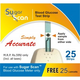 Thyrocare Sugar Scan Blood Glucose Test Strips - Pack of 25 Strips + 25 Free Lancets