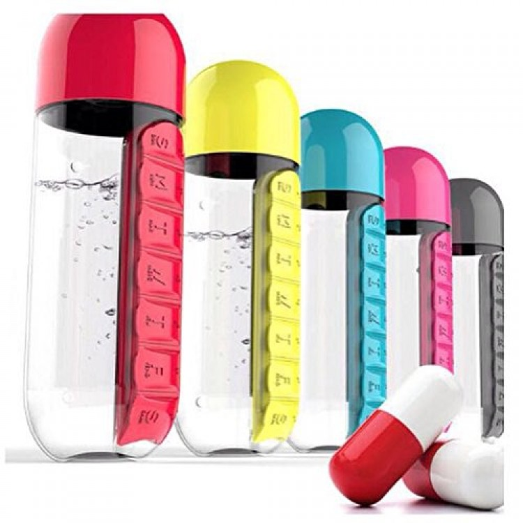 Sports Bottle With Storage Compartment: Water Bottle 600ml With Weekly Pill Organizer Box 2 In 1