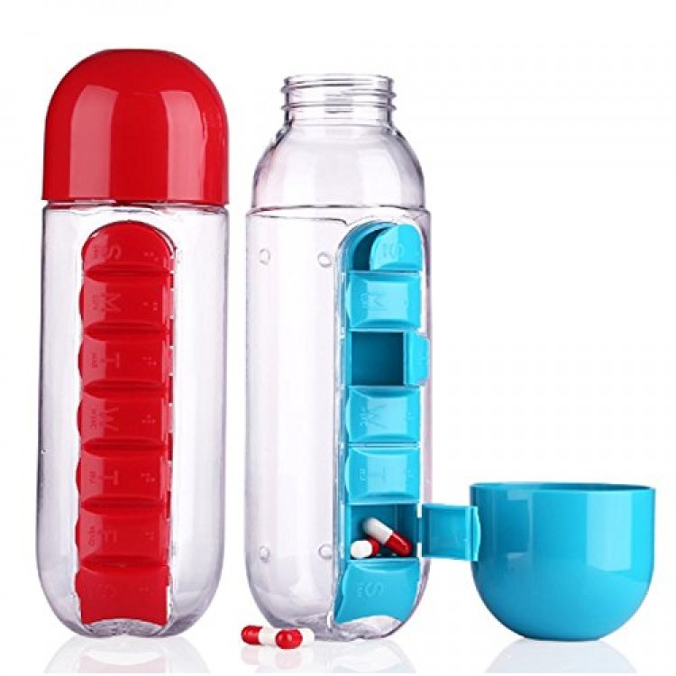 Water Bottle 600ml With Weekly Pill Organizer Box 2 In 1 (Medicine Storage)  For Sports Men/Women/Kids